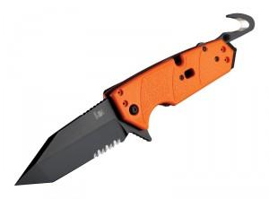 "HK Karma 3.75"" First Response Tool Folder: Black Cerakote Tanto Blade Flipper (Partially Serrated), Orange G10 Frame"