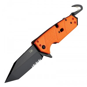 "HK Karma First Response Tool: 3.75"" Tanto Blade (Partially Serrated) - Black Cerakote Finish, Orange G10 Frame"