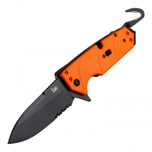 "HK Karma First Response Tool: 3.75"" Spear Point Blade (Partially Serrated) - Black Cerakote Finish, Orange G10 Frame"