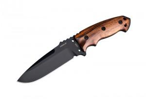"EX-F01 5 1/2"" Fixed Drop Point Blade A-2 Black Kote Black Sheath - Wood Cocobolo Scales"