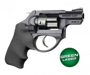 Green Laser Enhanced Grip for Ruger LCR: OverMolded Rubber Tamer Cushion - Black