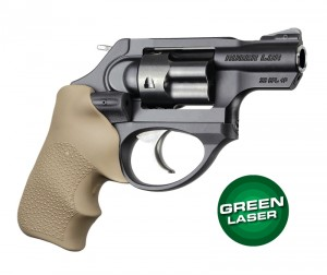 Green Laser Enhanced Grip for Ruger LCR: OverMolded Rubber Tamer Cushion - FDE