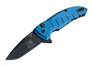 "X1-Microflip 2.75"" Folder Drop Point Blade Black Finish Alum Frame - Blue 50th Anniversary"